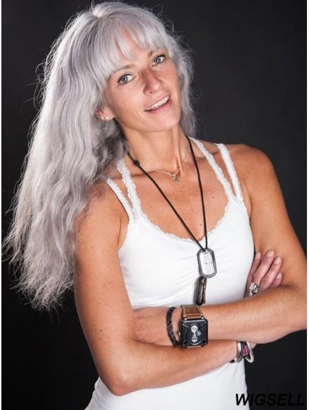 Glueless Lace Wigs 100% Hand Tied Wavy Style Grey Cut