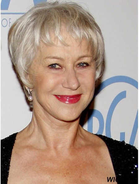 Short Human Hair Wigs With Capless Grey Cut Straight Style