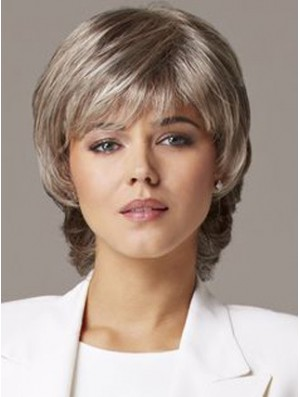 Older Women Wig Grey Hair Human Hair Wig UK