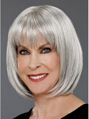 Grey Wigs UK Chin Length Wig For Ladies Online Cheap