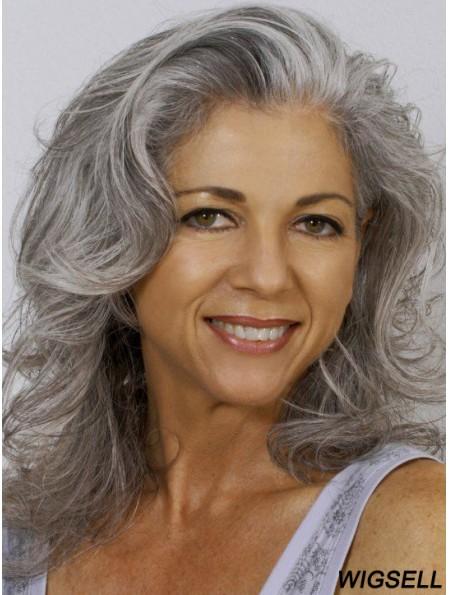 Wavy 100% Hand-tied 14 inch Exquisite Shoulder Length Grey Wigs
