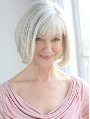 Real Hair Wigs With Remy Capless Grey Cut Chin Length