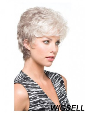 Grey Short Wig With Synthetic Capless Wavy Style