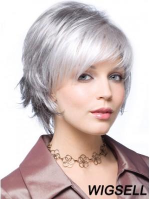 "Straight Capless 8"" Beautiful Short Grey Wigs"