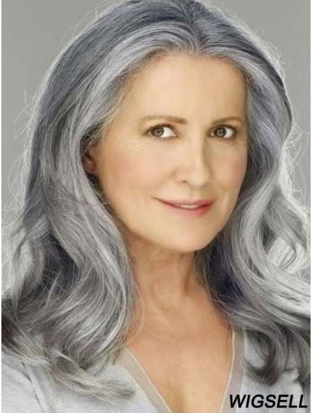 Shoulder Length Grey Wig Lace Front Wavy Human Hair Wig 16 Inch