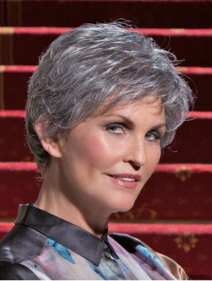 Ideal Short Wavy 100% Hand-tied Grey Wigs