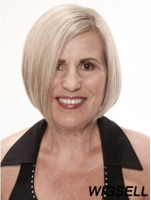 Remy Human Grey Short Straight Monofilament Platinum Blonde Wigs