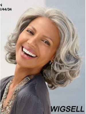 Wavy Lace Front 12 inch Fabulous Chin Length Grey Wigs