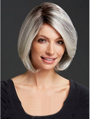 Straight Capless 12 inch Cheap Chin Length Grey Wigs