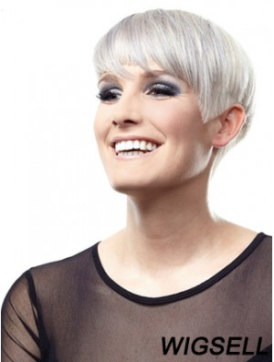 Convenient Short Straight Lace Front Grey Wigs