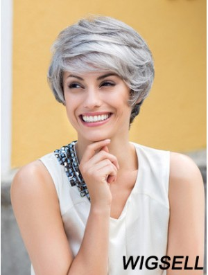 Wavy Lace Front 8 inch Top Short Grey Wigs