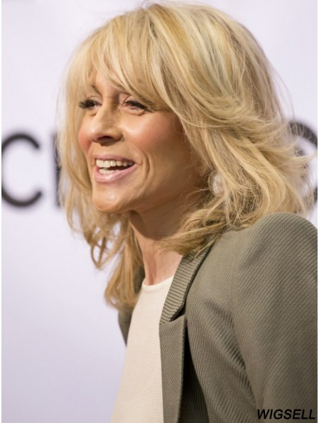 Top Blonde Shoulder Length Wavy With Bangs 16 inch Human Hair Wigs