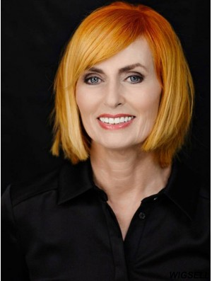 Chin Length Straight Full Lace Copper Designed Bob Wigs