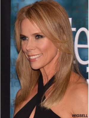 Amazing Blonde Shoulder Length Straight Without Bangs 16 inch Human Hair Wigs