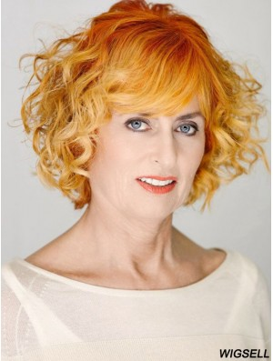 Fabulous Copper Chin Length Curly With Bangs 12 inch Human Hair Wigs