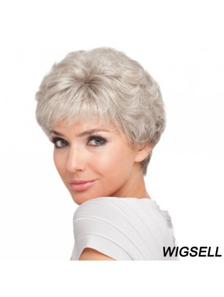 Short Hair Style For Older Ladies With Synthetic Capless Grey Cut