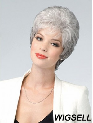 Lace Front Wig Grey Cut Wavy Style Short Length With Remy