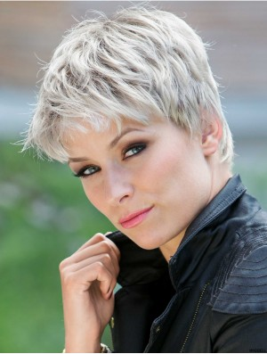 Synthetic Durable Cropped Straight Grey Wigs