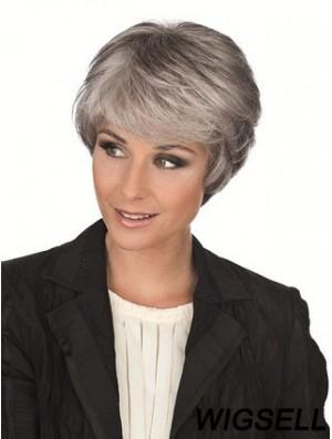 Synthetic Sassy Short Straight Grey Wigs