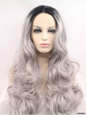 Gorgeous Long Curly 22 inch Synthetic Grey Wigs
