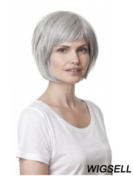 Synthetic Soft Chin Length Straight Grey Wigs
