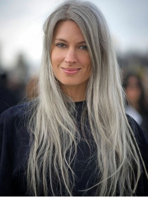 Mono Wig With Synthetic Straight Style Long Length Grey Cut