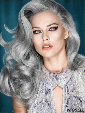 Ideal Long Curly 22 inch Synthetic Grey Wigs