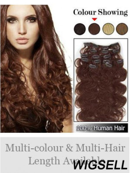High Quality Auburn Wavy Remy Human Hair Clip In Hair Extensions