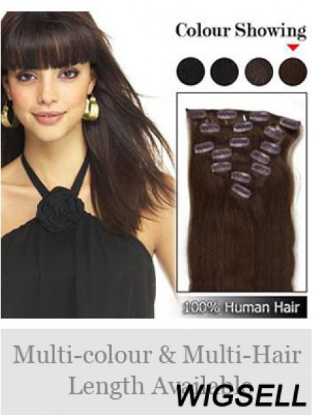 Flexibility Brown Straight Remy Human Hair Clip In Hair Extensions