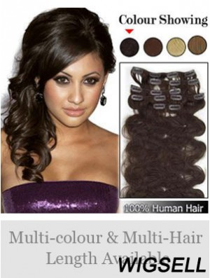 Modern Brown Wavy Remy Human Hair Clip In Hair Extensions