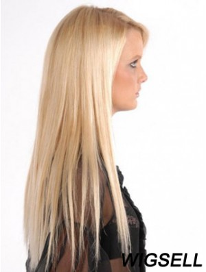Popular Blonde Straight Remy Human Hair Clip In Hair Extensions