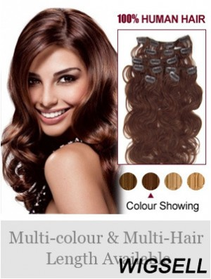 Online Auburn Wavy Remy Human Hair Clip In Hair Extensions