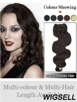 Wavy Remy Human Hair Brown Sassy Weft Extensions