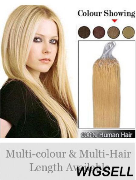 Sleek Blonde Straight Micro Loop Ring Hair Extensions