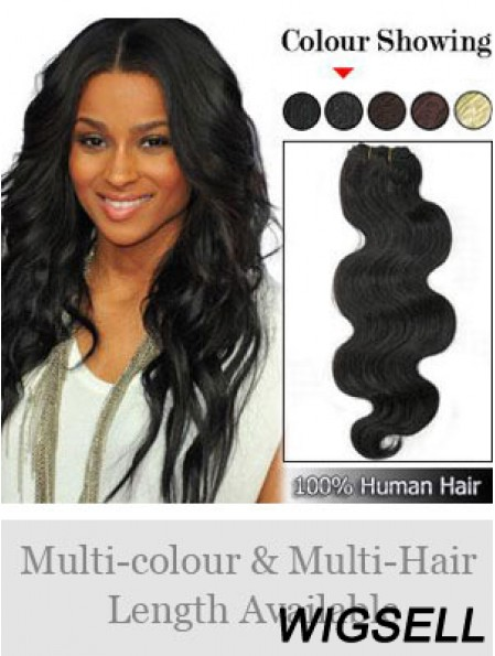 Wavy Remy Human Hair Black Perfect Weft Extensions