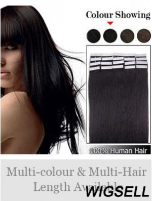 Black Straight Soft Remy Human Hair Tape In Hair Extensions