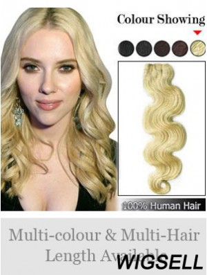 Wavy Remy Human Hair Blonde Fashionable Weft Extensions