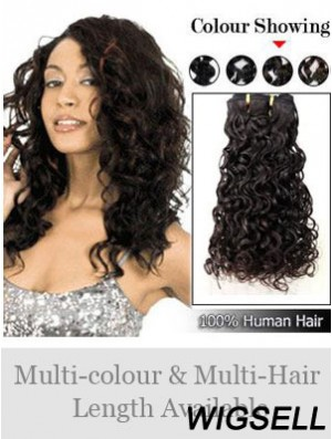 Curly Remy Human Hair Black Modern Weft Extensions