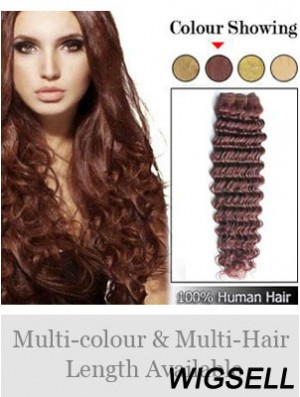Wavy Remy Human Hair Auburn High Quality Weft Extensions