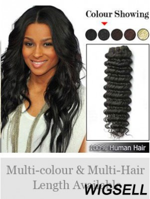 Wavy Remy Human Hair Black Flexibility Weft Extensions