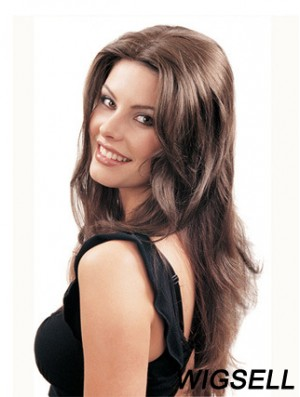 Long Straight Brown Beautiful Synthetic Half Wigs