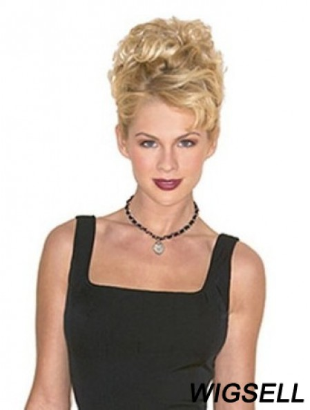 Hairpieces Clip On Blonde Color Short Length Curly Style