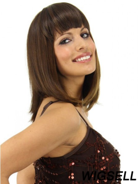 Popular Brown Straight Synthetic Clip In Hairpieces