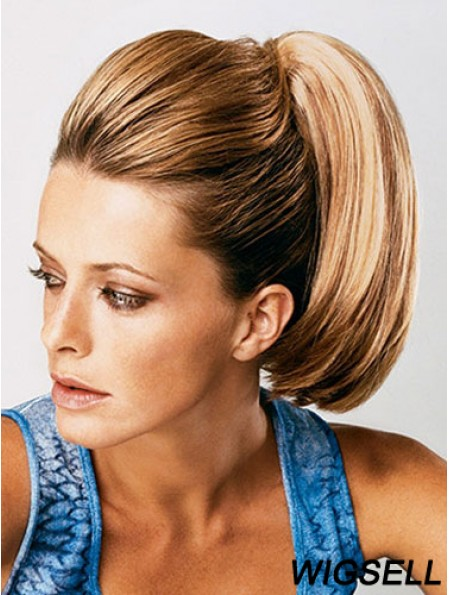 Ponytail Extensions Straight Style With Synthetic Brown Color