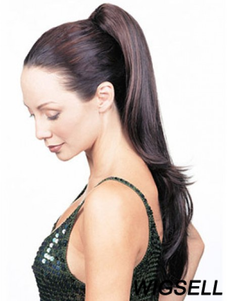 Perfect Straight Brown Ponytails