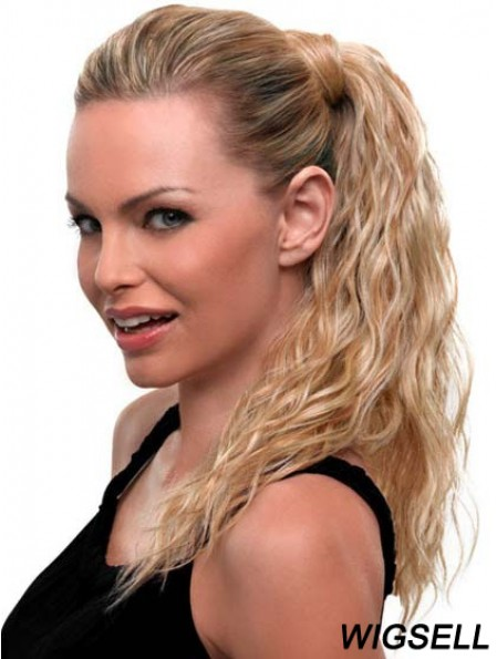 Blonde Ponytail Wavy Style Long Length With Synthetic